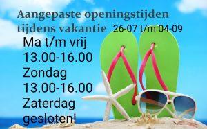 Openingstijden zomervakantie